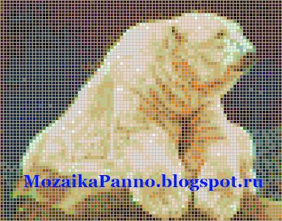 Картина из стеклянной мозаики — «Белый медведь».  Размер мозаики — 20*20 мм.