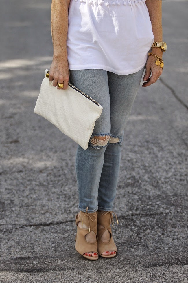 susana monaco top, elizabeth james sunglasses, jbrand jeans, clare v clutch, aquazurra sexy thing shoes