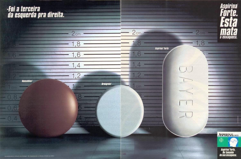 Propaganda da Aspirina em 1998 onde comparava sua eficiência junto aos seus concorrentes.