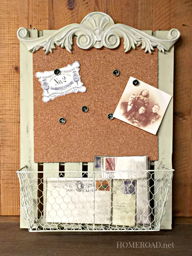 Homeroad cork board message center with a basket for How to make a bulletin board without cork