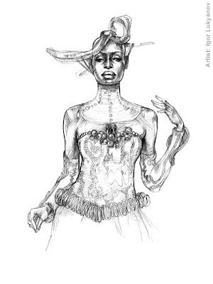 dibujo africano, moda trajes de africa