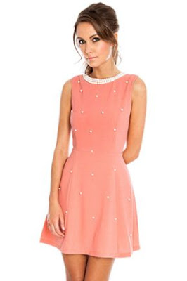 Coral embellished dress