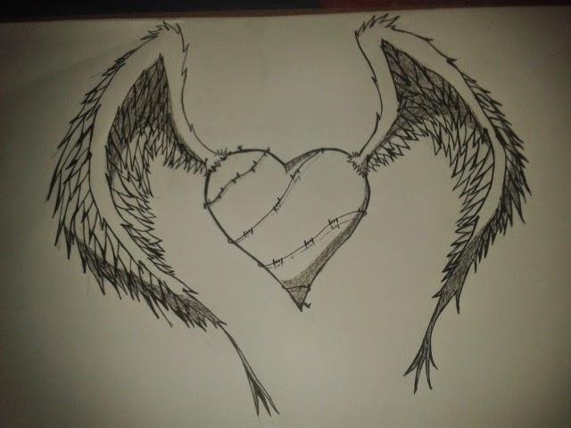 Corazones con alas dibujo a lapiz - Imagui
