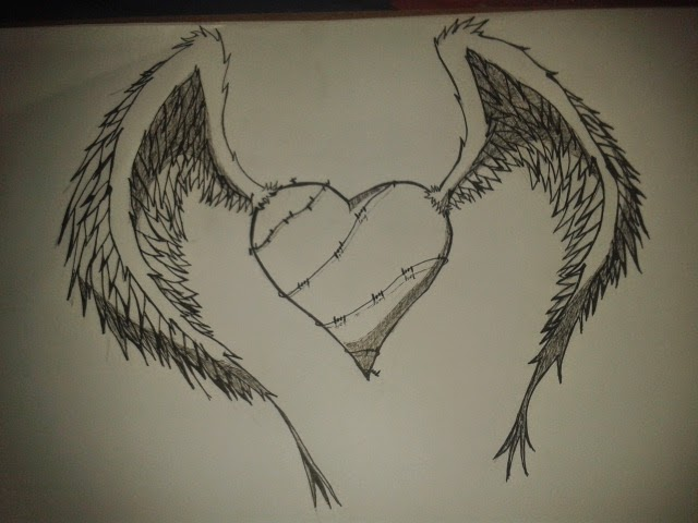Dibujos corazones con alas a lapiz - Imagui