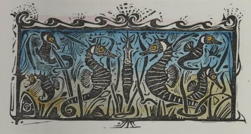 woodcut vignette design of seahorses