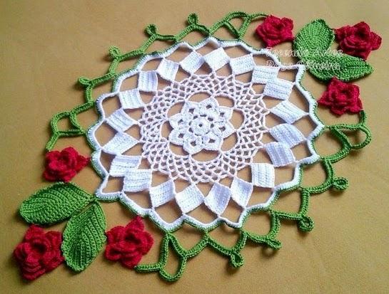 toalhas croche com receita rosas vermelhas flores aprender croche