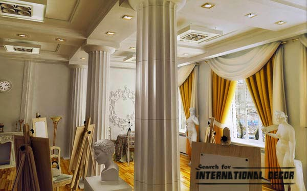 decorative columns, stylish element in modern interior | interior