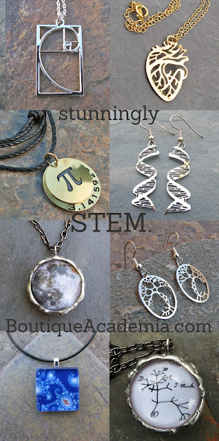 Math, science and geek jewelry Boutique Academia