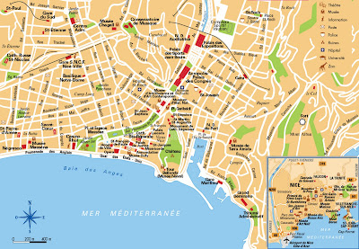 Great tourist map of Nice, France