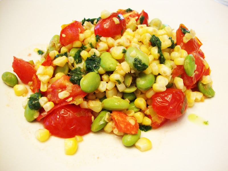 my back pages: skillet corn, edamame and tomatoes with basil oil