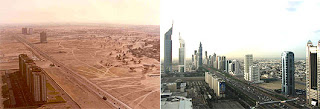 Sheikh Zayed Road in 1990 and 12 years later