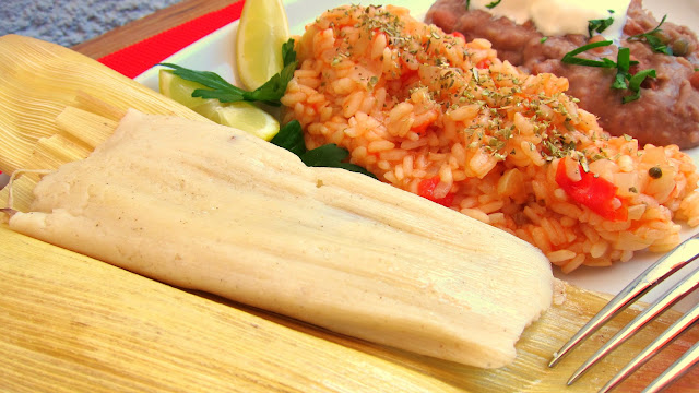 Pressure Cooker Tamales, Mexican Rice and Refried Beans