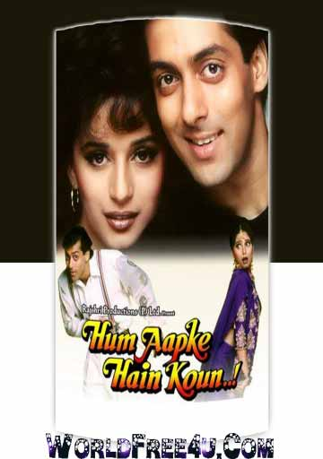 Poster Of Bollywood Movie Hum Aapke Hain Koun (1994) 300MB Compressed Small Size Pc Movie Free Download worldfree4u.com