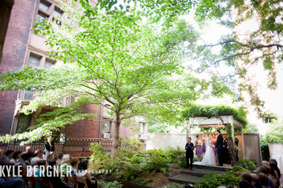 Wide photo of garden ceremony at Cahse Court in Baltimore, Maryland.