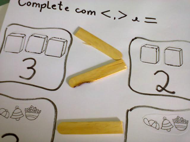 atividade matematica palito de sorvete maior menos igual