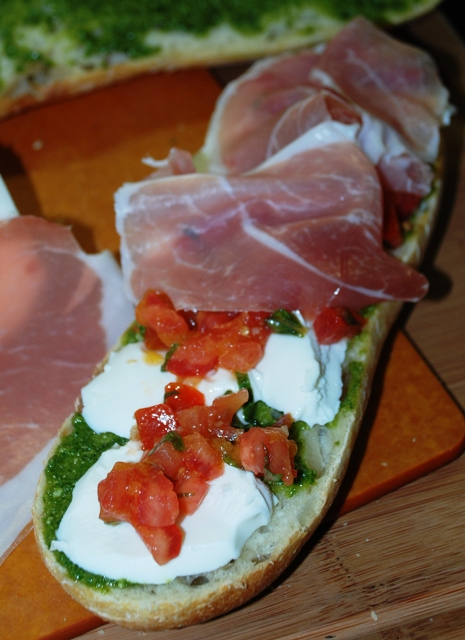 KC in the Kitchen: Prosciutto Mozzarella Pesto Tomato Panini