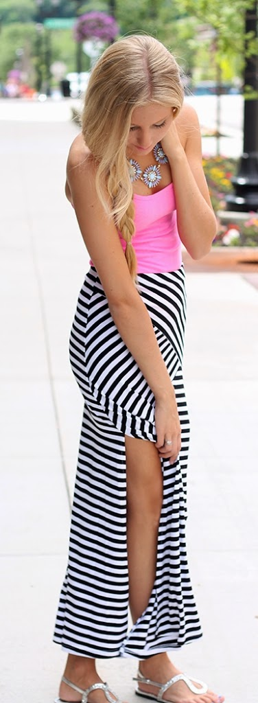 Black & White Double - Slit Maxi Skirt with Pink top and Statement Necklace | Summer Outfits