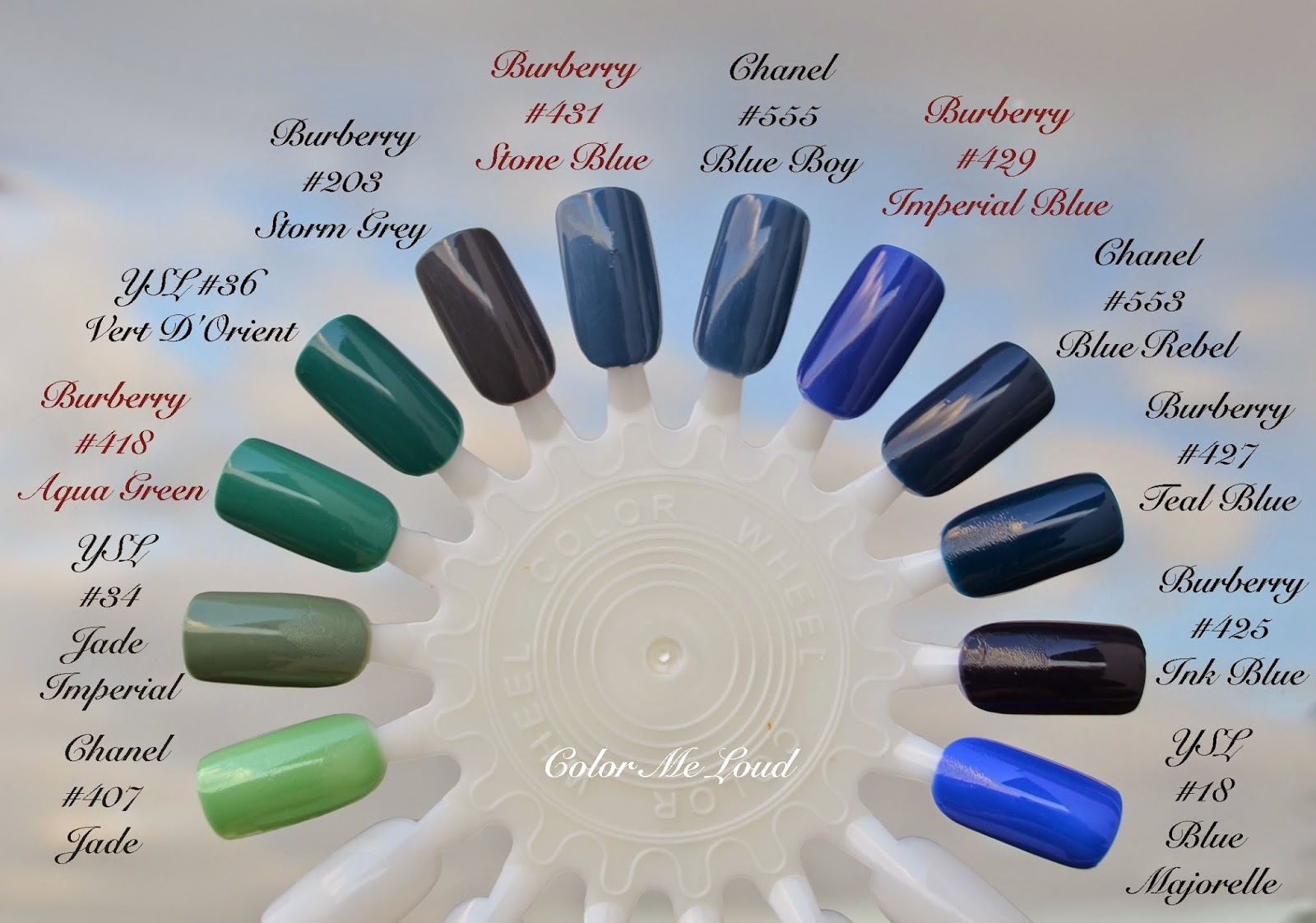 Burberry Nail Polish #418 Aqua Green, #431 Stone Blue and #429 ...