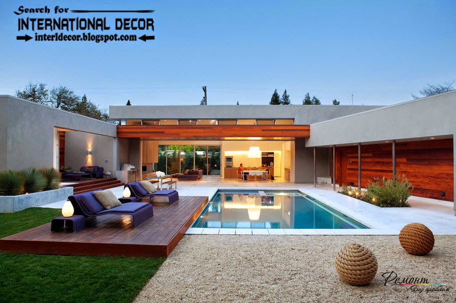 modern luxury villas styles with swimming pool, beautiful houses and villas