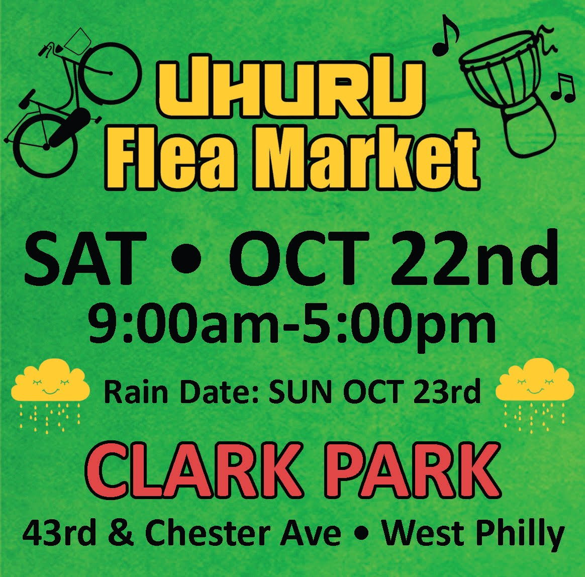 UHURU FLEA MARKET rescheduled for Rain Date Sunday Oct 23rd