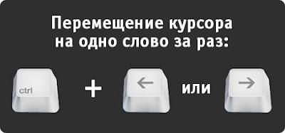 Горячие Клавиши в Windows: Перемещение курсора на одно слово