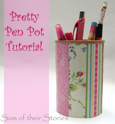 Pretty pen pot tutorial from www.sumoftheirstories.com