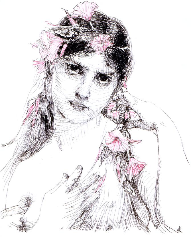 Ink portrait Jules Joseph LeFebvre Morning Glory