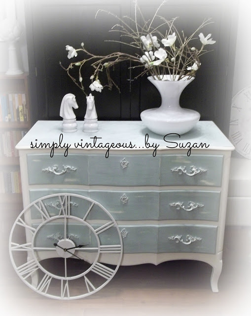 shabby, chic, aqua, dresser, french provincial, distressed, before, after