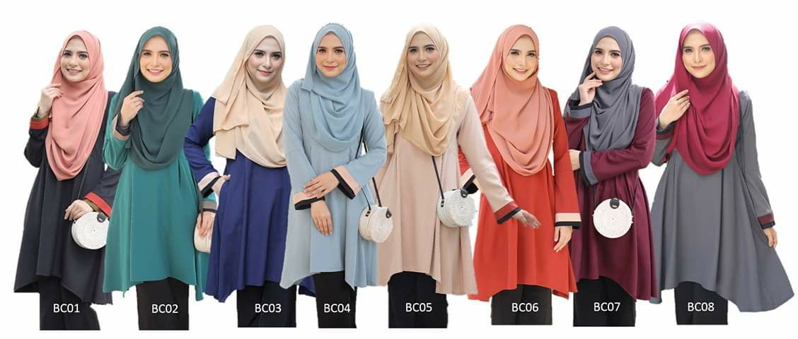 Blouse labuh muslimah kini kembali dengan design lebih menawan