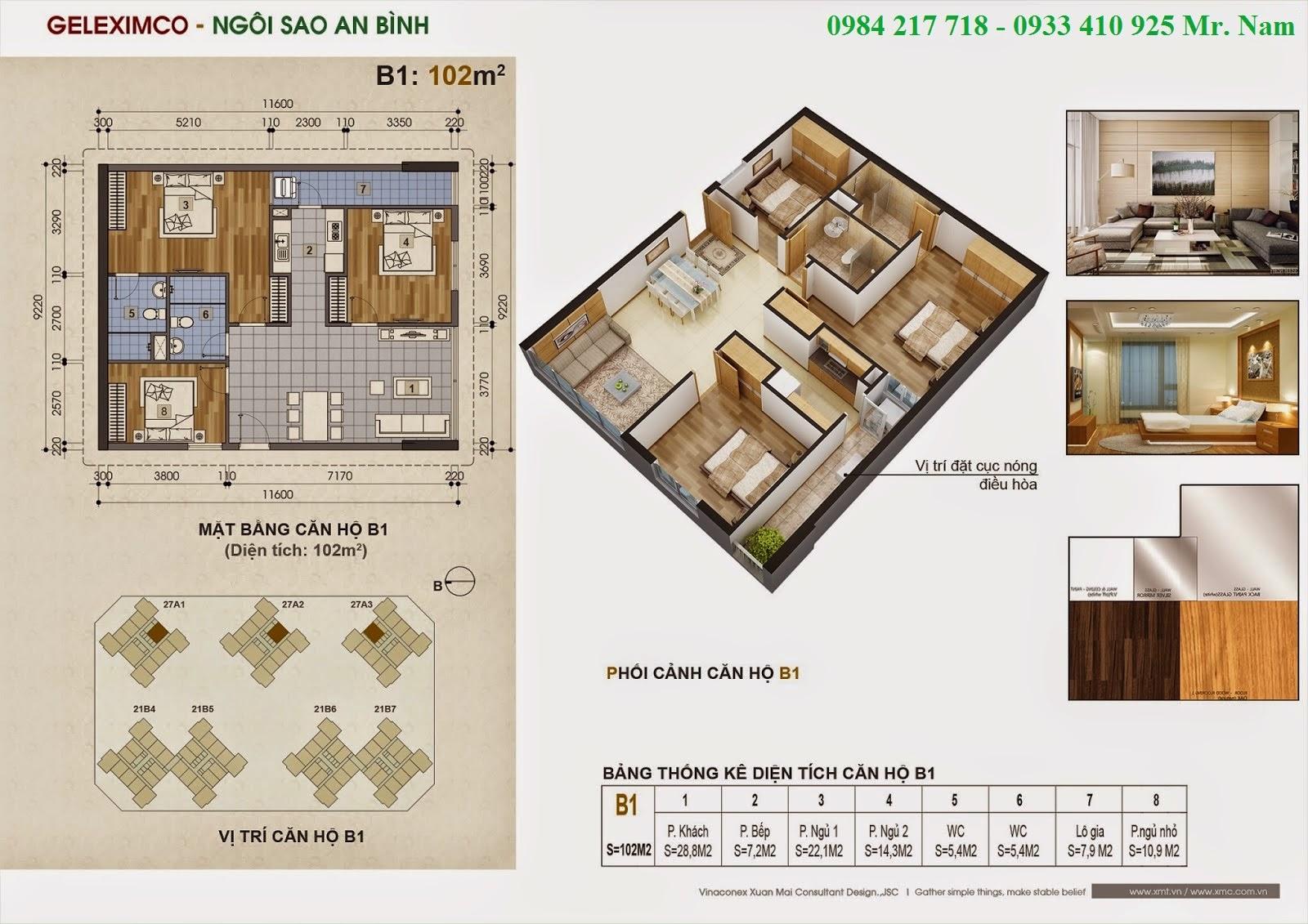 Thiết kế căn hộ B1 diện tích 102 m2 chung cư Green Stars