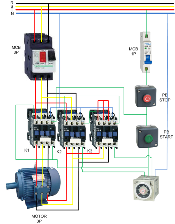 Wiring Star Delta Contactor on contactor wiring diagram