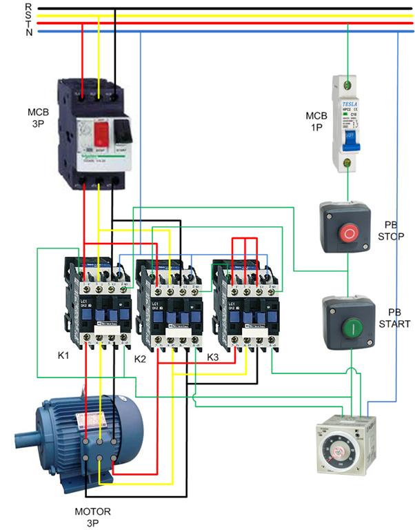 wiring star delta  u0026 contactor