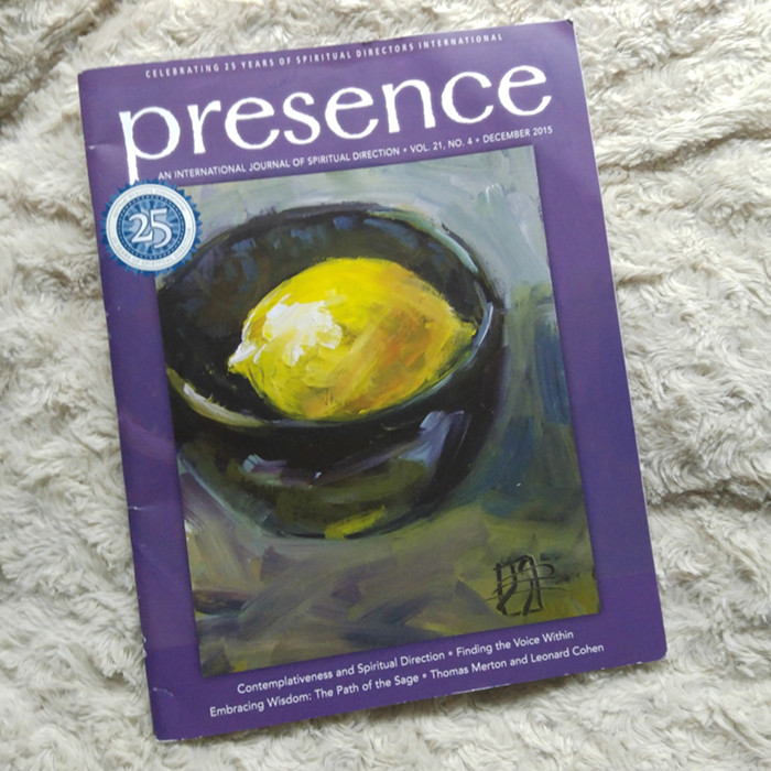 my art on the cover of this magazine Presence Dec 2015