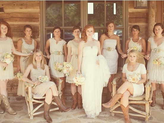 Swashbuckle the aisle rustic elegance a wedding for Country wedding party dresses