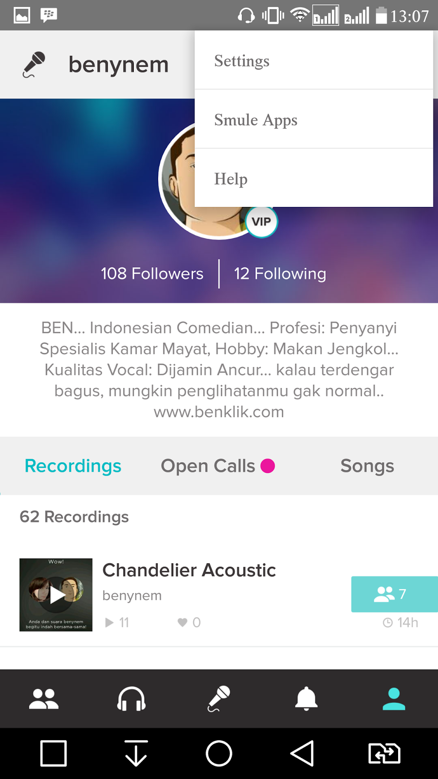 Guide karaoke smule click on three points at the top just below the clock so that it appears the settings menu smule apps and help stopboris Images