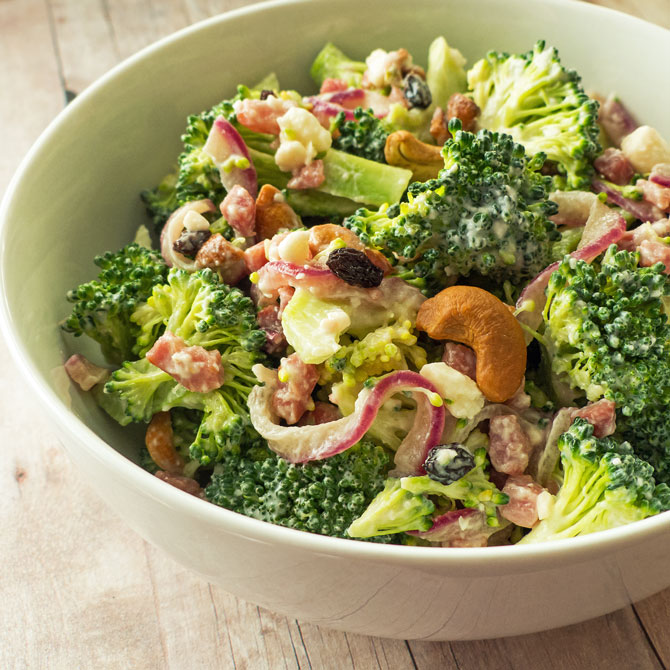 Broccoli Crunch Salad with Prosciutto and Feta