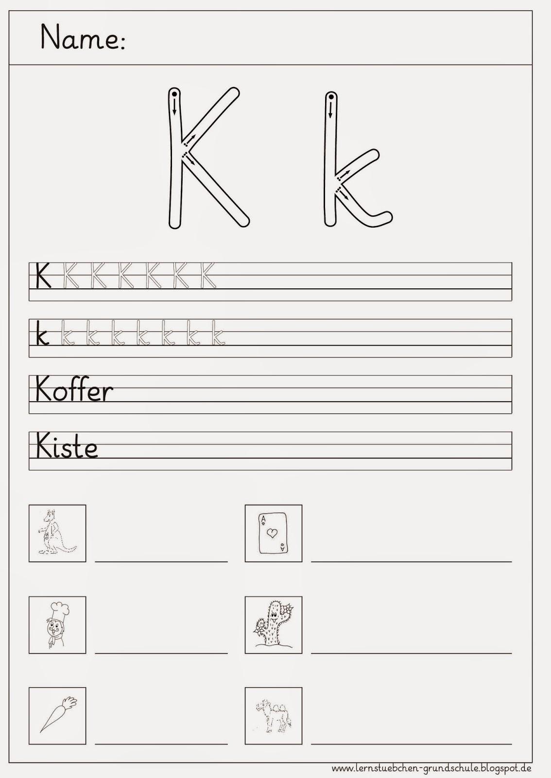 Buchstabe A Grundschule Arbeitsblatt : Lernstübchen schreibblätter zum k