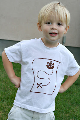 treasure hunt t shirt made with freezer paper stencil