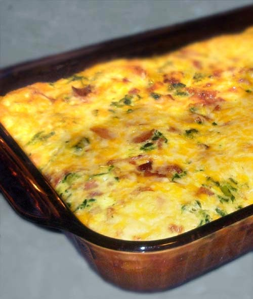 Cheesy low carb breakfast recipe with bacon, eggs, onion, spinach and broccoli.