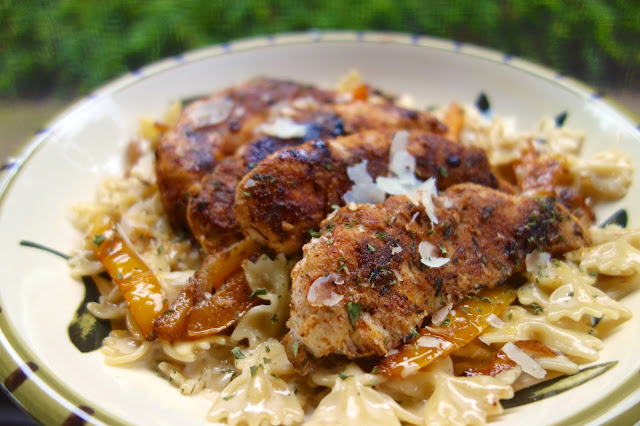 Jerk Chicken Pasta - with homemade Jerk seasoning recipe - ready in about 20 minutes! No prep! Just season chicken and start cooking! Quick and easy weeknight meal!