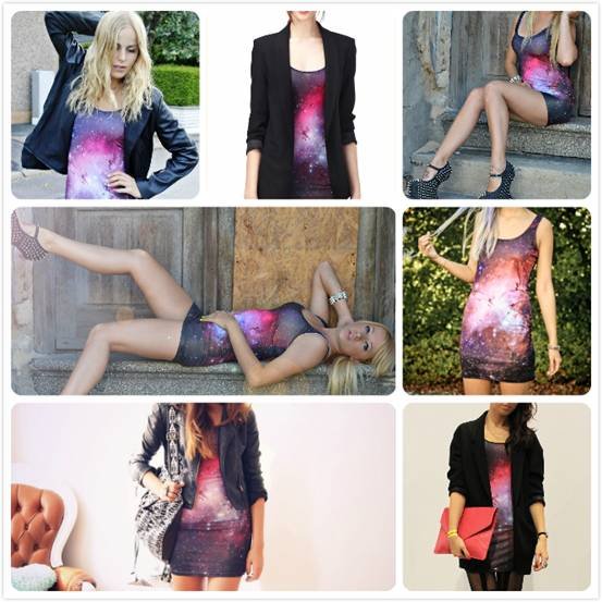 galaxy body dress, street style