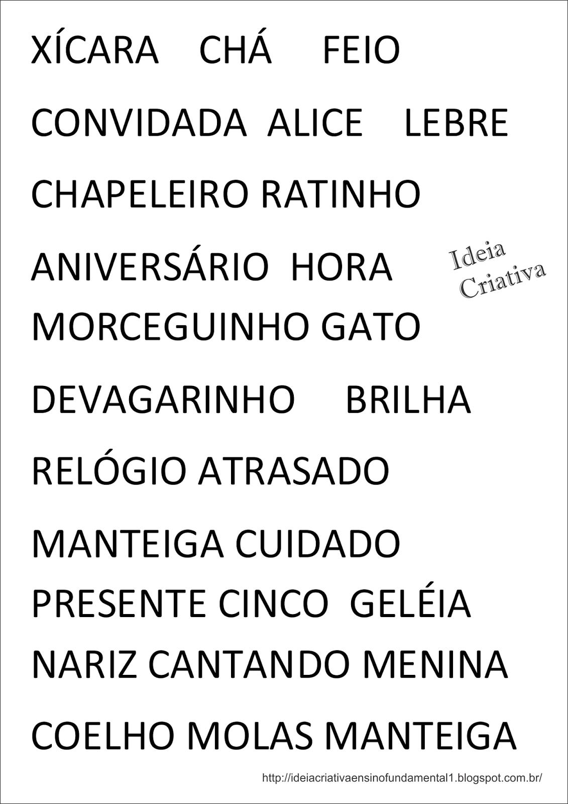 Bingo Ortográfico Alice no País das Maravilhas com Cartelas para Imprimir Grátis