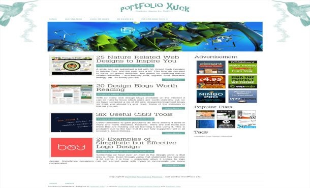 Portfolio WordPress Blue Theme