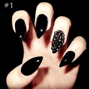 The gothic catwalk blog top 10 gothic style nail art 1 quite a classic style here but with the addition of tiny studs glued onto the third finger and the nails filed to extreme points which does mean youd publicscrutiny Choice Image