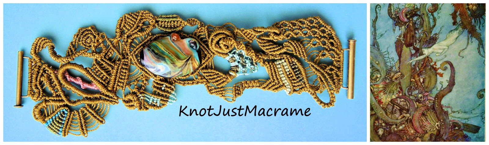 Macrame cuff inspired by The Little Mermaid by Edward Dulac.