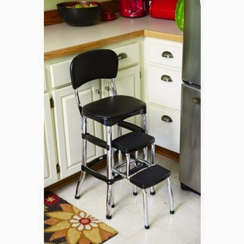 New Cosco Retro Counter Chair Step Stool Chrome Finish