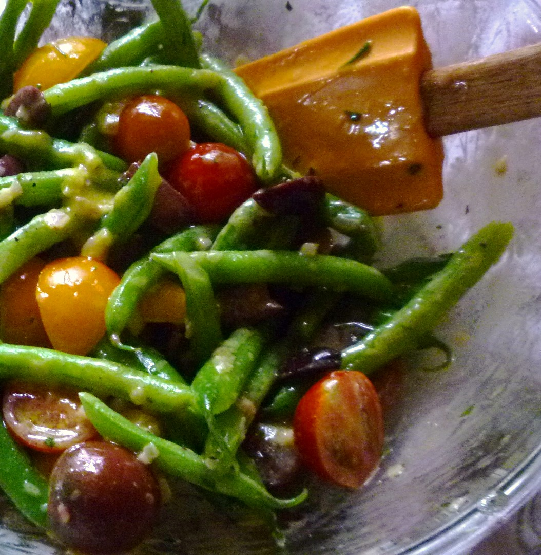 Cherry Tomato & Green Bean Salad with Olives and a Mustard Vinaigrette