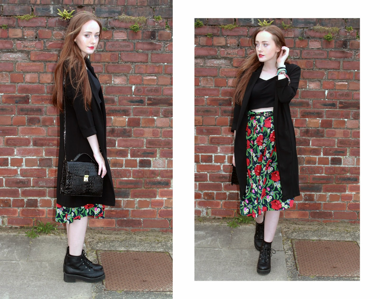 OOTD featuring primark black duster coat, black crop top, studded belt worn with vintage floral midi skirt, primark black satchel and asos ankle boots summer 2014
