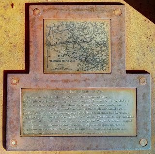 Plaque at the base of the Epes Randolph sculpture showing railroad map of the Tucson-railroads that Epes Randolph commended
