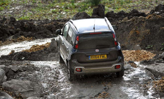 Fiat Panda Cross emerging, dripping